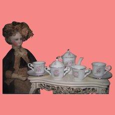 SWEET 7 Piece Vintage Miniature Hand Painted Porcelain Doll Tea Set!