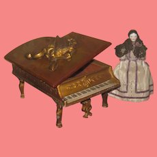 ELABORATE Detailed Vintage Miniature Gilded Metal/Bakelite Lidded Miniature Piano Trinket Box!