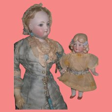 """SWEET 5 1/2"""" Antique German Limbach All Bisque Doll with Molded Curls!"""