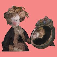 EXQUISITE Vintage Miniature Round Beveled Doll Vanity Mirror with FLORAL GARLAND!