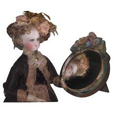 EXQUISITE Vintage Miniature Round Beveled Doll Vanity Mirror with FLORAL GARLAND!