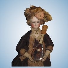 CHARMING Antique Shell Miniature Toy Mandolin for FASHION DOLLS!