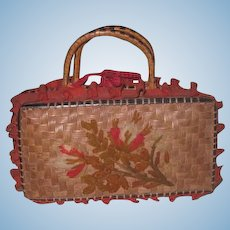 SALE! Exquisite Antique Embroidered Wicker Miniature Suitcase/Valise for FASHION DOLLS!