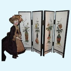 SPRING SALE!  Beautiful Vintage Hand Painted Miniature Screen for Fashion Dolls!