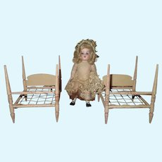 CHARMING Pair of Vintage Twin Miniature Pink Wooden Doll Rope Beds!