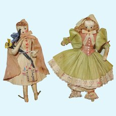 "Exceptionally Made Pair of Vintage Artist 5"" Corn Husk Dolls!"