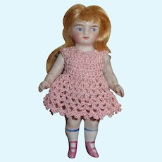 """Precious Antique German 4"""" All Bisque Doll with Two Strap PINK BOOTS!"""