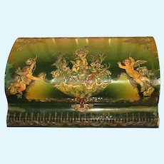 Magnificent Large Antique Celluloid Presentation Box with Cherubs for Doll Display!