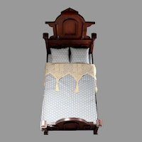 Early Wood Bed with Linens for Antique Doll