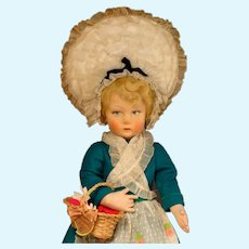 "16"" Lenci Girl in Original Costume with Flower Basket 1940"