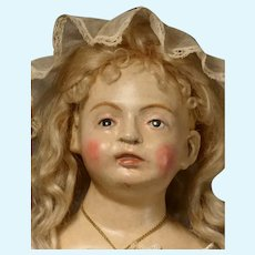 """27"""" Early Continental Doll  of Wood and Composite"""