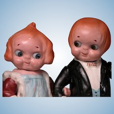 "7"" Pair of Dolly Dingle Googly Composition Characters from Grace Drayton Cartoon Series"