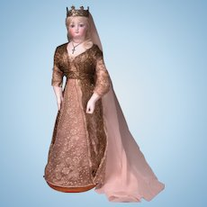 """16 1/2"""" Radiquet & Cordonnier RC Fashion Statuesque Lady with Rare Signature Body and Marked Stand"""