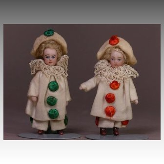 "2 1/2"" Tall French All Bisque Mignonette All Original Pierrot PAIR"