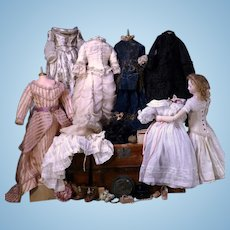 """LISTING 2 OF 2 - Louis Doleac French Fashion 18 1/2"""" with Jointed Wood Body and Elaborate Wardrobe"""