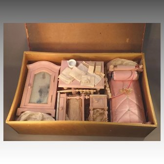 Suite of French Doll Furniture in Original Presentation Box