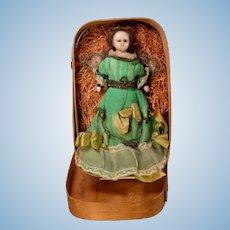 "8 1/2"" English Poured Wax Angel Original Presentation in Wood Box"