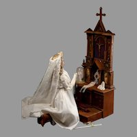 French Prayer Altar or Prie Dieu with Sacred Vessels and Accessories