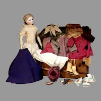 """20"""" Barrois or Blampoix Fashion Doll with Extra Clothing and Trunk"""