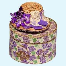 French Fashion Violets Hatbox plus Hat
