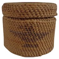 Miniature Makah Basket with Lid Twined Cedar Bear Grass Eagle