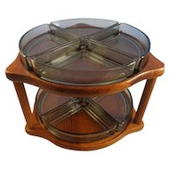 MCM Digsmed Denmark 004 Teak Glass 2-Tier Lazy Susan