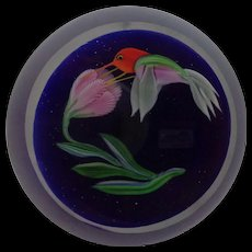 Signed Correia Art Glass Hummingbird Paperweight 1984 - Red Tag Sale Item