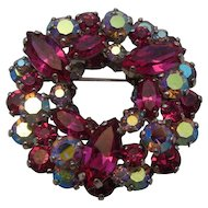 Sherman Hot Pink & Aurora Borealis Rhinestone 2 Tier Brooch Signed