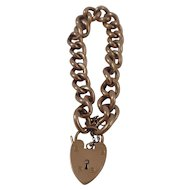 9CT Rose Gold Hollow Padlock Curb Link Charm Bracelet