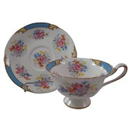 Shelley England Cup & Saucer Floral with Blue & Gold Lattice Design