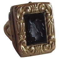 Carved Intaglio Mourning Poison Ring 10K Gold