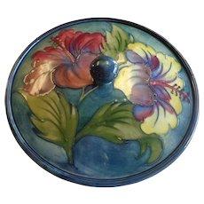 Moorcroft Lidded Bowl Hibiscus Warrant Labels - Red Tag Sale Item