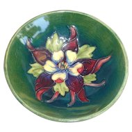 Moorcroft Columbine Bowl Green Ground