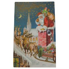 Antique Embossed Christmas Postcard Santa Sleigh Rooftop Free Shipping