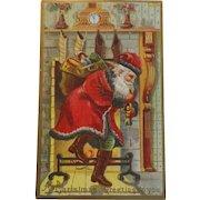 Antique Christmas Postcard Santa Sack Toys Chimney Dark Trim Green Pants Free Shipping