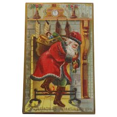 Antique Christmas Postcard Santa Sack Toys Chimney Dark Trim Green Pants