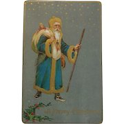Antique Christmas Postcard Santa Blue Coat Gold Trim Free Shipping