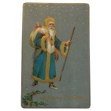 Antique Christmas Postcard Santa Blue Coat Gold Trim
