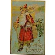 Antique Christmas Postcard Santa Gold Trim Free Shipping