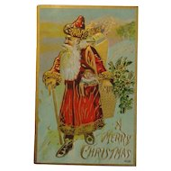 Antique Christmas Postcard Santa Gold Trim Free Shipping