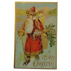 Antique Christmas Postcard Santa Gold Trim