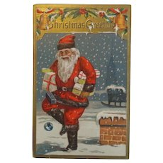 Antique Embossed Christmas Postcard Santa Black Rooftop Dropping Presents Trim Free Shipping