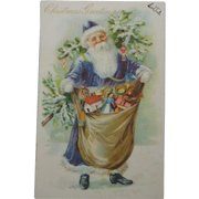 Antique Tuck Christmas Postcard Santa Blue Coat Toys Tree  Free Shipping