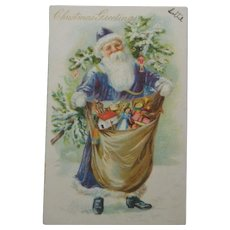 Antique Tuck Christmas Postcard Santa Blue Coat Toys Tree