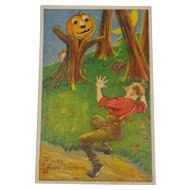 Vintage Halloween Postcard Pumpkin Tree Scares Man Free Shipping 1921