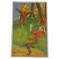 Vintage Halloween Postcard Pumpkin Tree Scares Man  1921