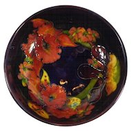 Signed Moorcroft Footed Bowl Orchid Iris Mixed Ground Blue Red Purple
