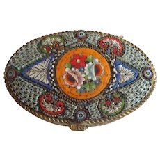 Italy Micro Mosaic Brass Pill Patch Box