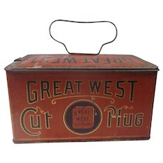 Great West Cut Plug Tobacco Tin Lunchbox Empire Tobacco Co Montreal Canada