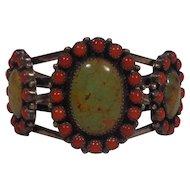 Hemerson Brown Navajo Green Kingman Turquoise & Coral Cuff Bracelet Sterling Pawn Marks